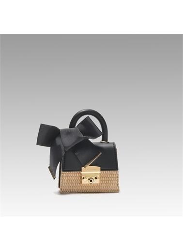 Black Ribbon Kilitli Mini Çanta Siyah